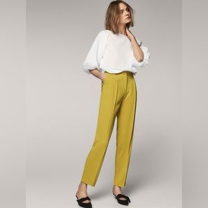 NWT Massimo Dutti Yellow/Green Slim Trouser Pants